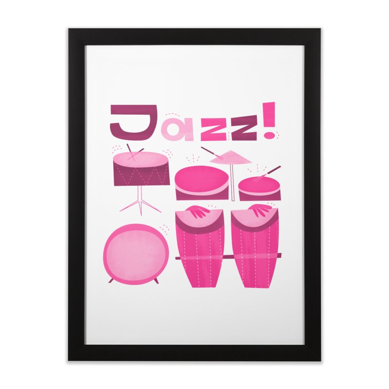 Retro Jazz Drums Percussion Pink Home Framed Fine Art Print by amirabouroumie's Artist Shop