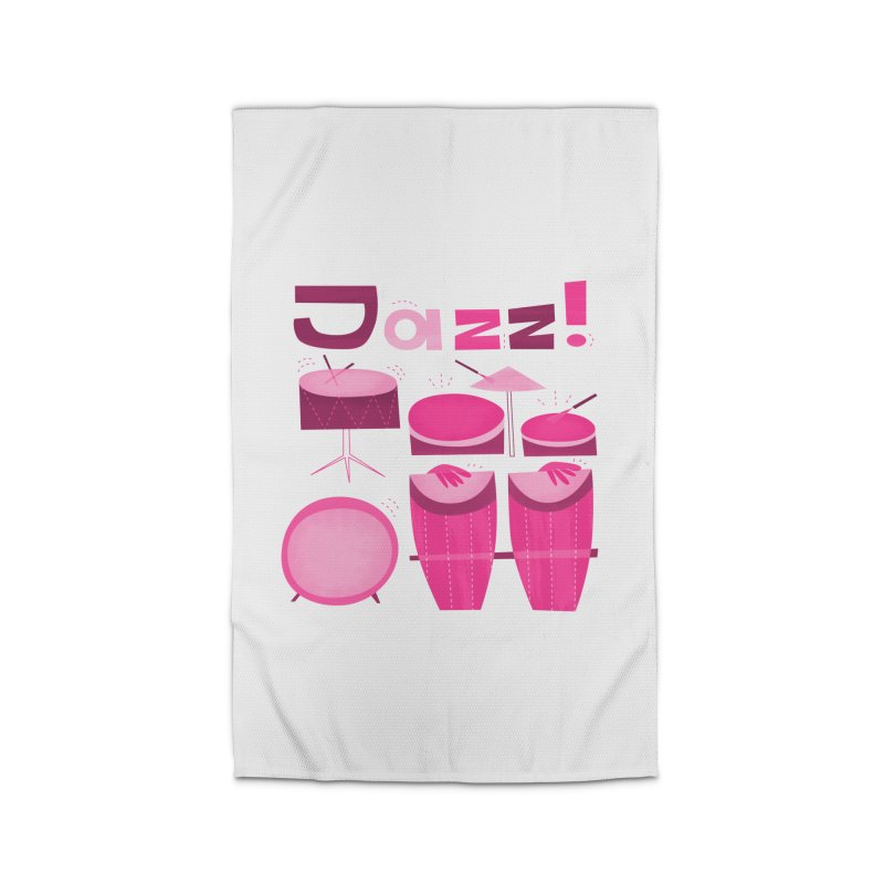 Retro Jazz Drums Percussion Pink Home Rug by amirabouroumie's Artist Shop