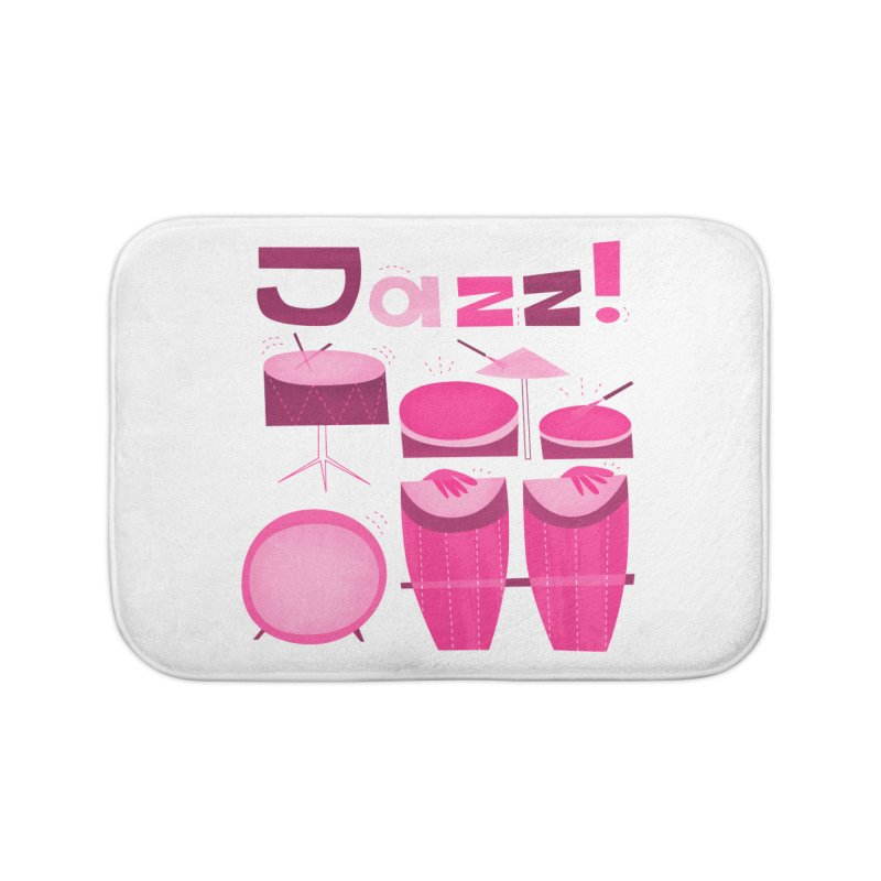 Retro Jazz Drums Percussion Pink Home Bath Mat by amirabouroumie's Artist Shop