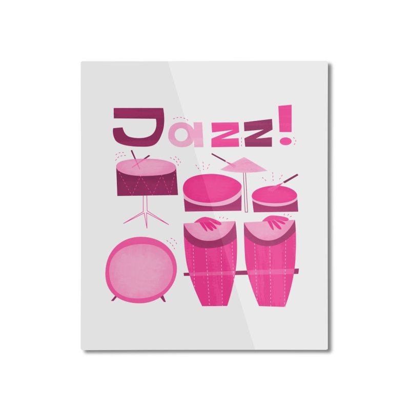 Retro Jazz Drums Percussion Pink Home Mounted Aluminum Print by amirabouroumie's Artist Shop