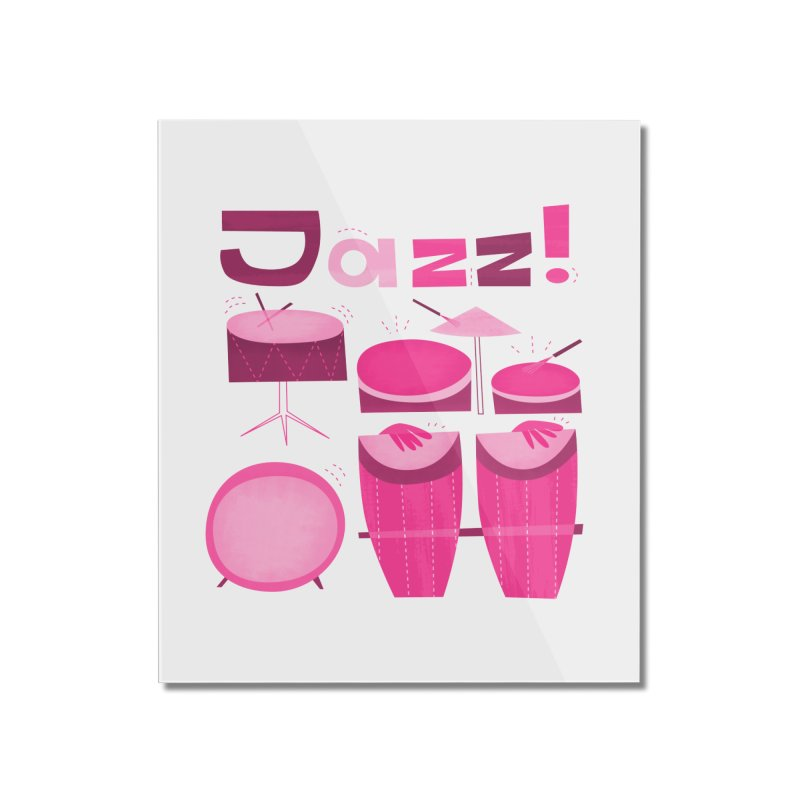 Retro Jazz Drums Percussion Pink Home Mounted Acrylic Print by amirabouroumie's Artist Shop