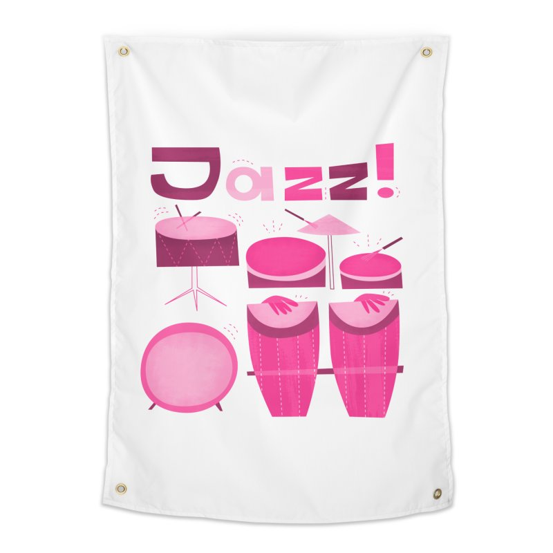 Retro Jazz Drums Percussion Pink Home Tapestry by amirabouroumie's Artist Shop