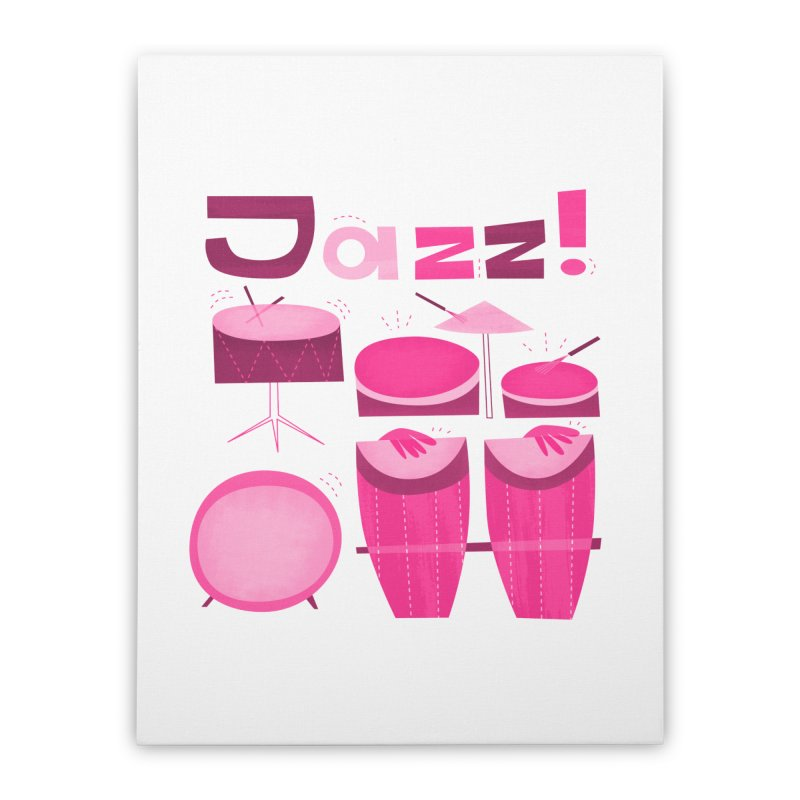 Retro Jazz Drums Percussion Pink Home Stretched Canvas by amirabouroumie's Artist Shop