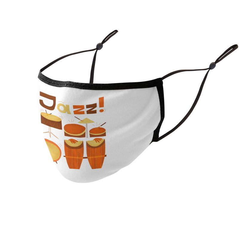Retro Jazz Drums Percussion Brown Yellow Red Accessories Face Mask by amirabouroumie's Artist Shop