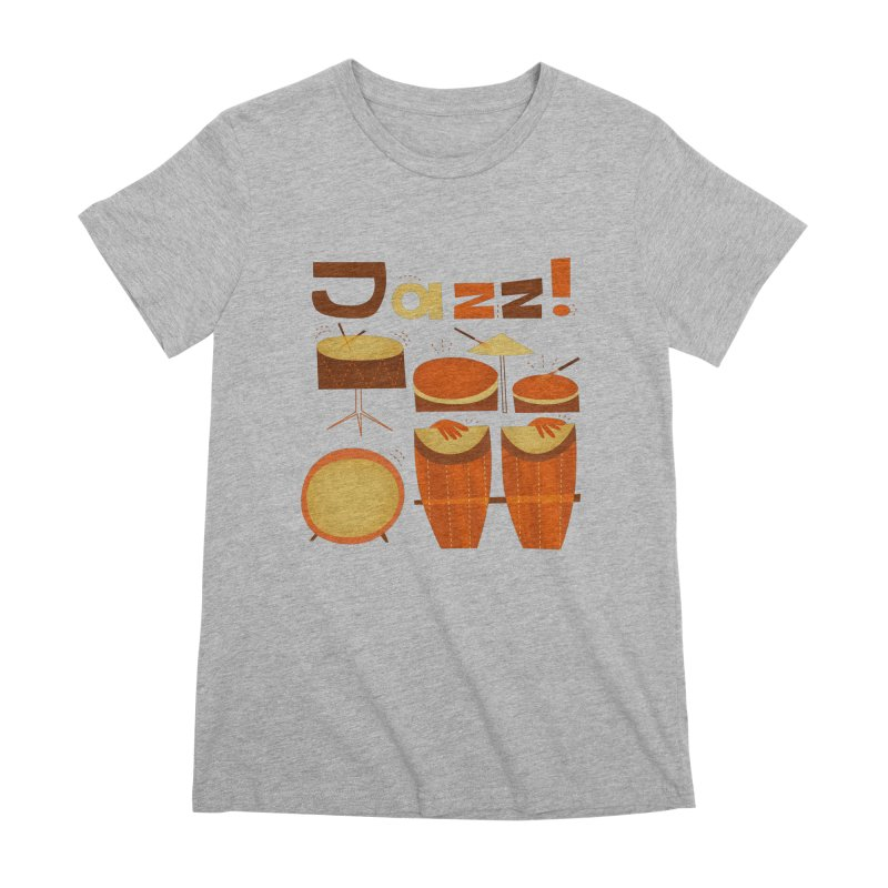 Retro Jazz Drums Percussion Brown Yellow Red Women's Premium T-Shirt by amirabouroumie's Artist Shop
