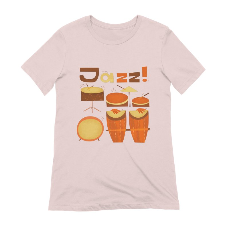 Retro Jazz Drums Percussion Brown Yellow Red Women's Extra Soft T-Shirt by amirabouroumie's Artist Shop