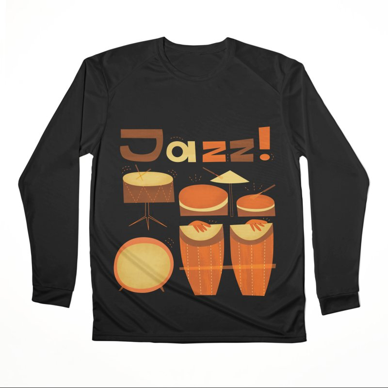 Retro Jazz Drums Percussion Brown Yellow Red Women's Performance Unisex Longsleeve T-Shirt by amirabouroumie's Artist Shop