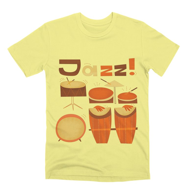 Retro Jazz Drums Percussion Brown Yellow Red Men's Premium T-Shirt by amirabouroumie's Artist Shop
