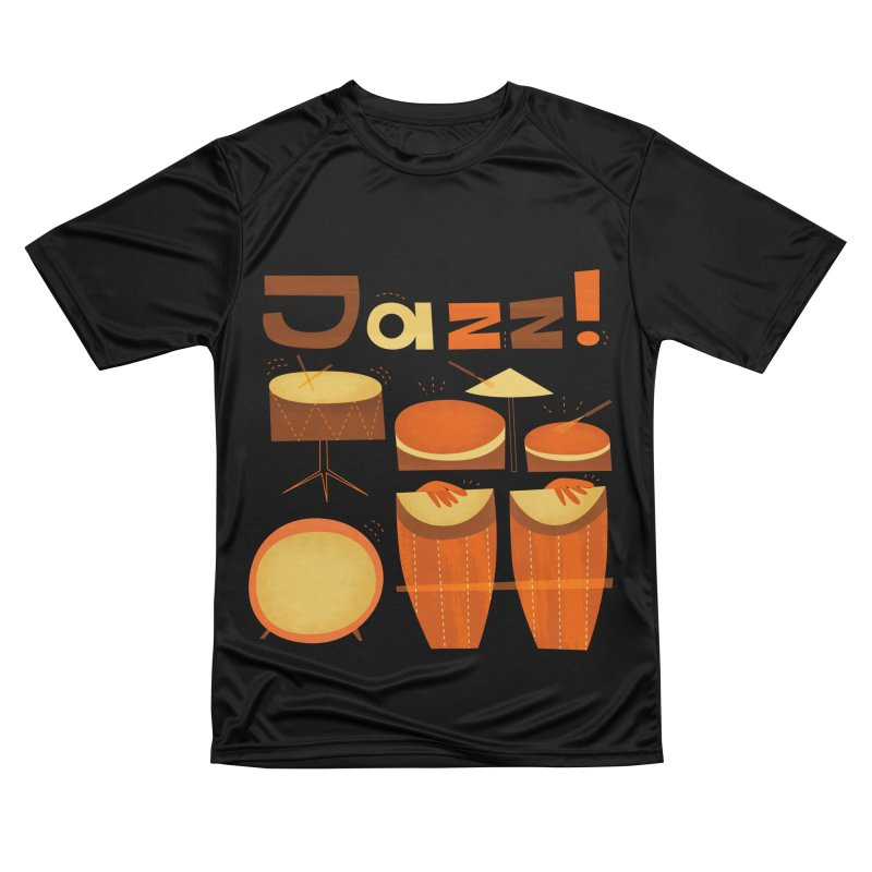 Retro Jazz Drums Percussion Brown Yellow Red Women's Performance Unisex T-Shirt by amirabouroumie's Artist Shop