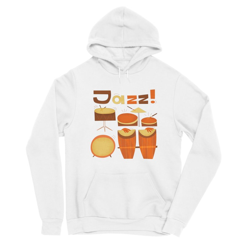 Retro Jazz Drums Percussion Brown Yellow Red Women's Sponge Fleece Pullover Hoody by amirabouroumie's Artist Shop