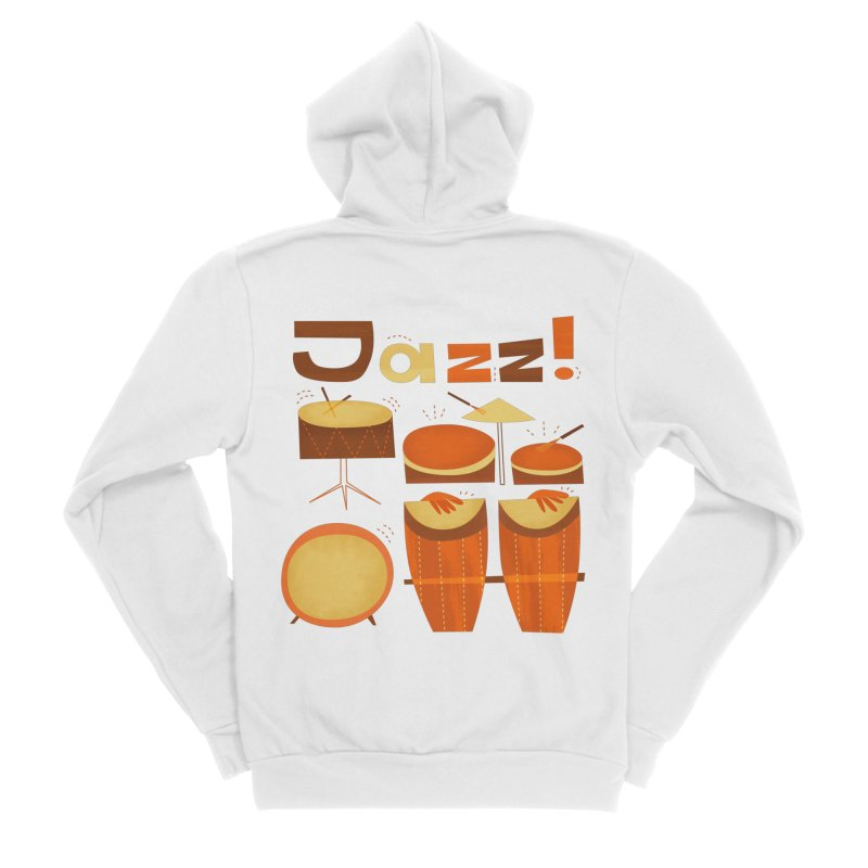 Retro Jazz Drums Percussion Brown Yellow Red Women's Zip-Up Hoody by amirabouroumie's Artist Shop