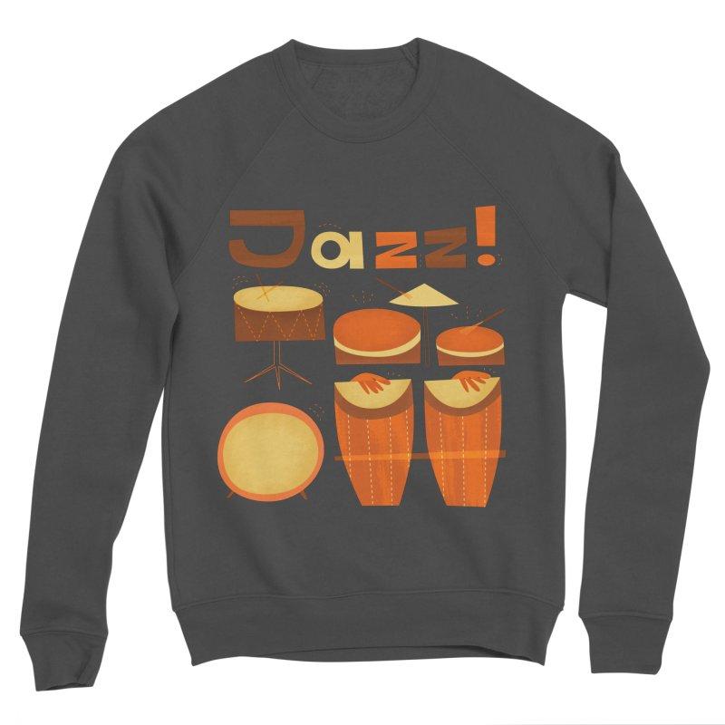 Retro Jazz Drums Percussion Brown Yellow Red Women's Sponge Fleece Sweatshirt by amirabouroumie's Artist Shop