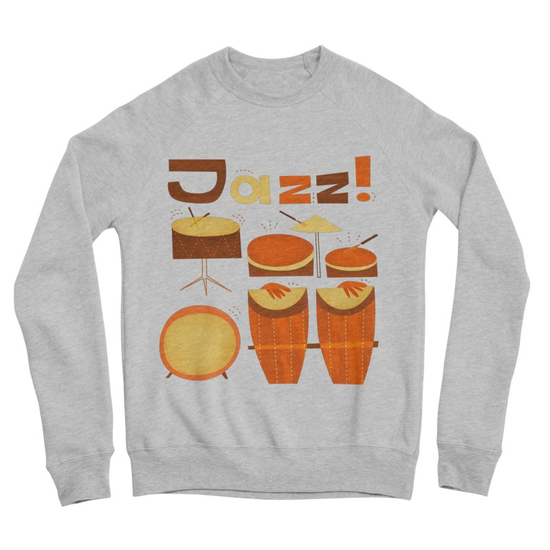 Retro Jazz Drums Percussion Brown Yellow Red Men's Sponge Fleece Sweatshirt by amirabouroumie's Artist Shop