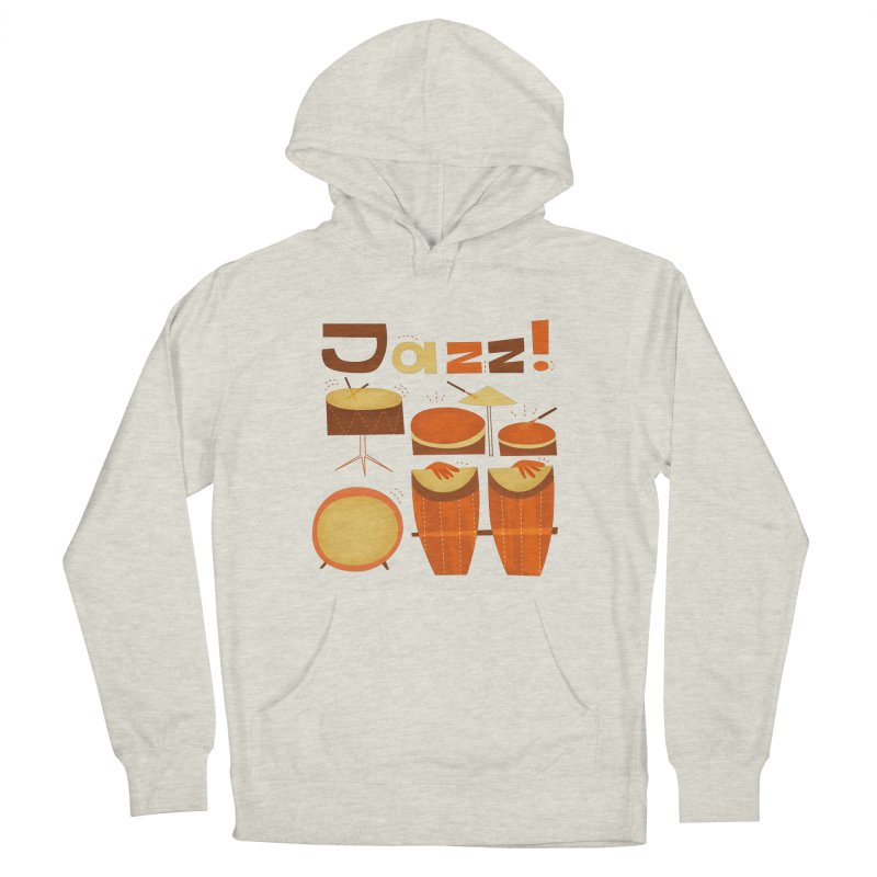 Retro Jazz Drums Percussion Brown Yellow Red Men's Pullover Hoody by amirabouroumie's Artist Shop