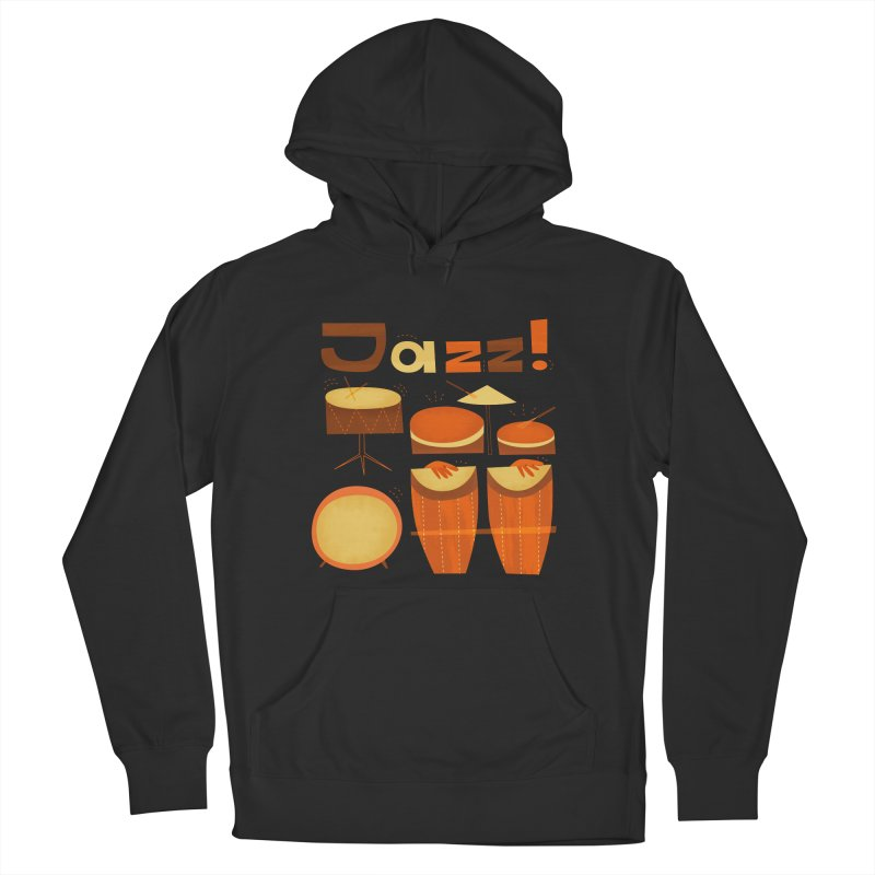 Retro Jazz Drums Percussion Brown Yellow Red Women's French Terry Pullover Hoody by amirabouroumie's Artist Shop