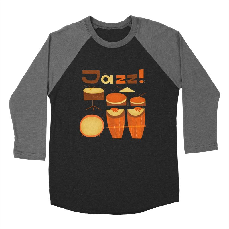 Retro Jazz Drums Percussion Brown Yellow Red Men's Baseball Triblend Longsleeve T-Shirt by amirabouroumie's Artist Shop