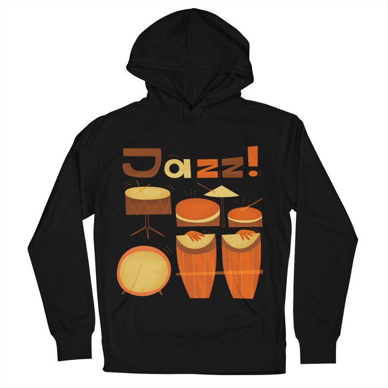 Retro Jazz Drums Percussion Brown Yellow Red Men's French Terry Pullover Hoody by amirabouroumie's Artist Shop