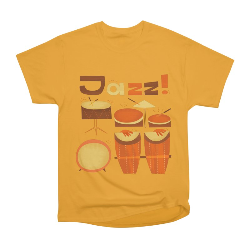 Retro Jazz Drums Percussion Brown Yellow Red Women's Heavyweight Unisex T-Shirt by amirabouroumie's Artist Shop