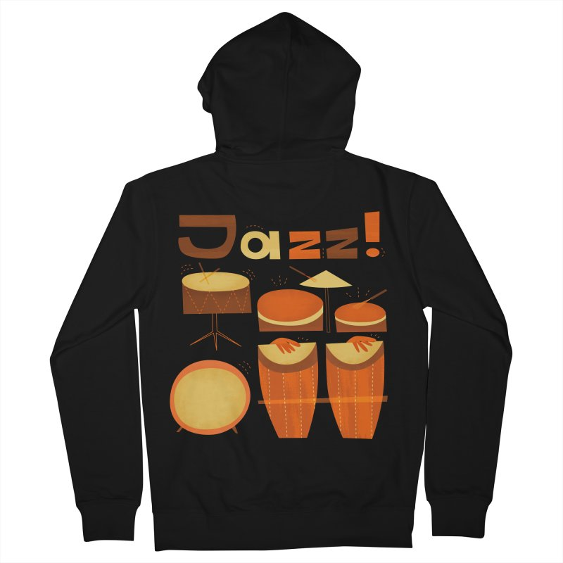 Retro Jazz Drums Percussion Brown Yellow Red Women's French Terry Zip-Up Hoody by amirabouroumie's Artist Shop