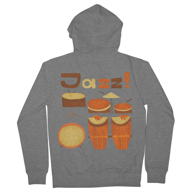 Retro Jazz Drums Percussion Brown Yellow Red Men's French Terry Zip-Up Hoody by amirabouroumie's Artist Shop
