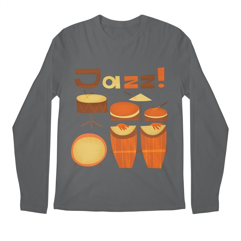 Retro Jazz Drums Percussion Brown Yellow Red Men's Longsleeve T-Shirt by amirabouroumie's Artist Shop