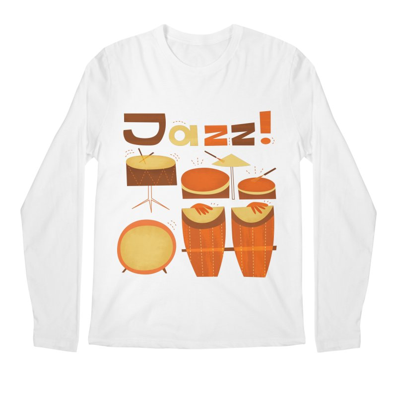 Retro Jazz Drums Percussion Brown Yellow Red Men's Regular Longsleeve T-Shirt by amirabouroumie's Artist Shop