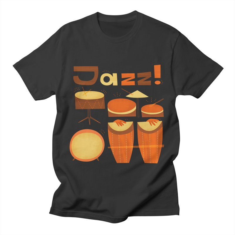 Retro Jazz Drums Percussion Brown Yellow Red Men's T-Shirt by amirabouroumie's Artist Shop