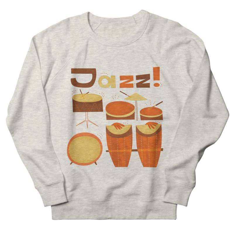 Retro Jazz Drums Percussion Brown Yellow Red Women's French Terry Sweatshirt by amirabouroumie's Artist Shop