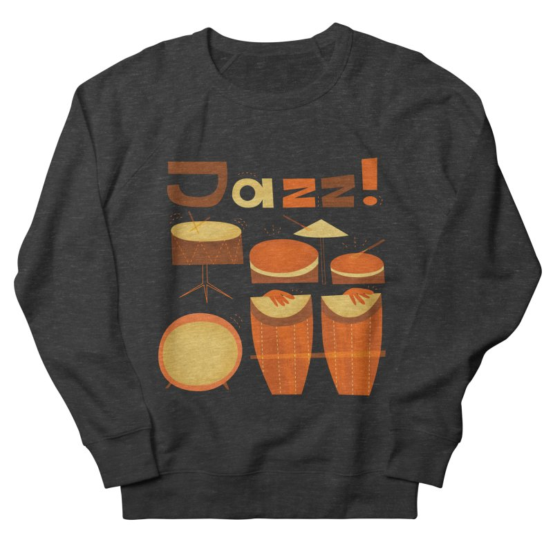 Retro Jazz Drums Percussion Brown Yellow Red Men's French Terry Sweatshirt by amirabouroumie's Artist Shop