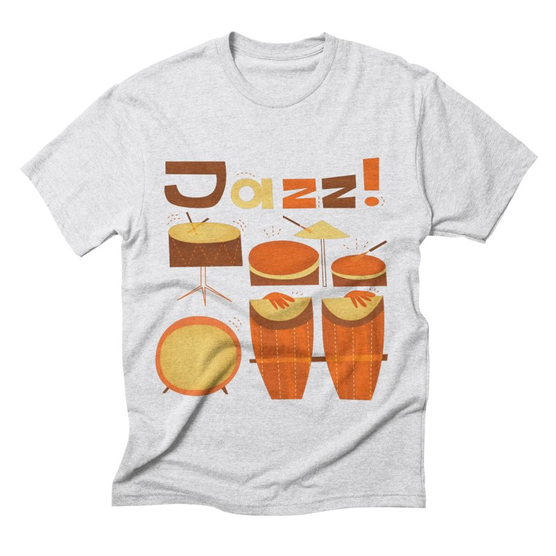 Retro Jazz Drums Percussion Brown Yellow Red Men's Triblend T-Shirt by amirabouroumie's Artist Shop
