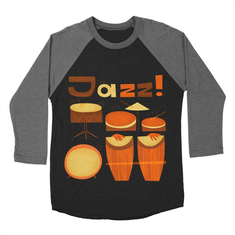 Retro Jazz Drums Percussion Brown Yellow Red Women's Baseball Triblend Longsleeve T-Shirt by amirabouroumie's Artist Shop