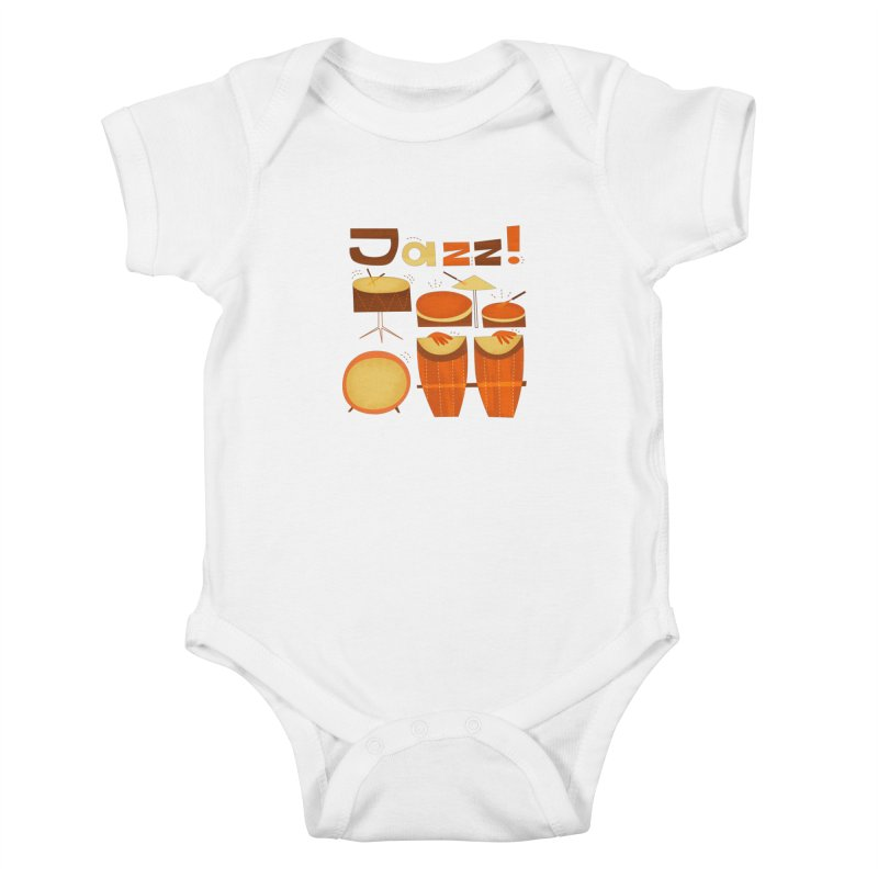 Retro Jazz Drums Percussion Brown Yellow Red Kids Baby Bodysuit by amirabouroumie's Artist Shop