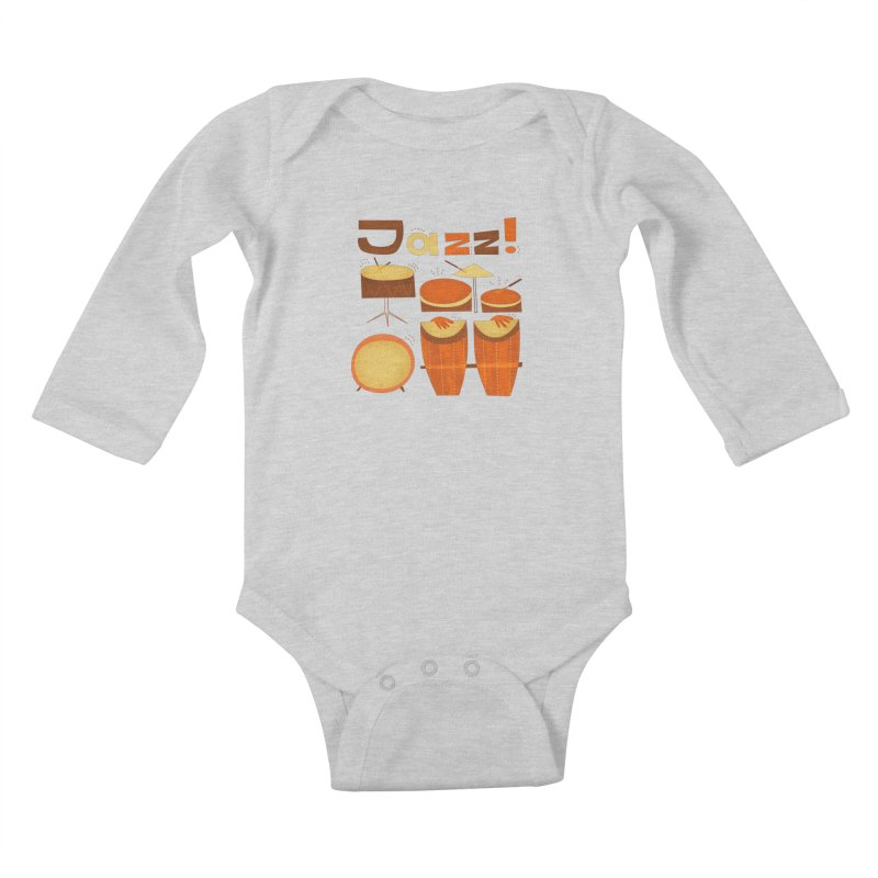 Retro Jazz Drums Percussion Brown Yellow Red Kids Baby Longsleeve Bodysuit by amirabouroumie's Artist Shop