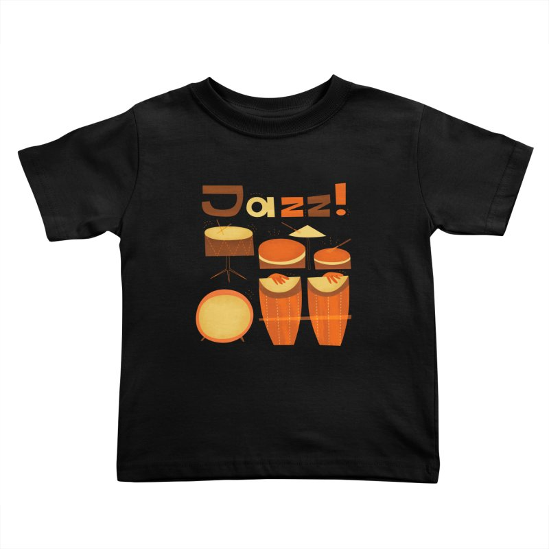 Retro Jazz Drums Percussion Brown Yellow Red Kids Toddler T-Shirt by amirabouroumie's Artist Shop