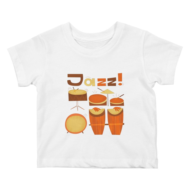 Retro Jazz Drums Percussion Brown Yellow Red Kids Baby T-Shirt by amirabouroumie's Artist Shop