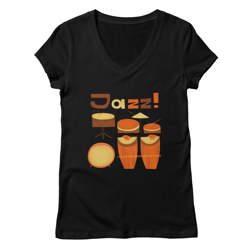 Retro Jazz Drums Percussion Brown Yellow Red Women's V-Neck by amirabouroumie's Artist Shop
