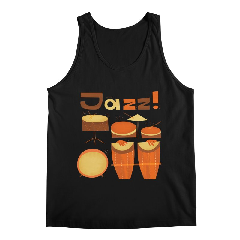 Retro Jazz Drums Percussion Brown Yellow Red Men's Regular Tank by amirabouroumie's Artist Shop