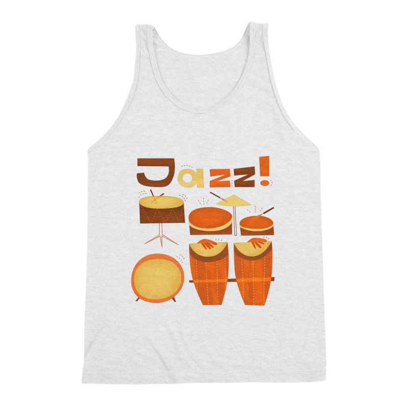 Retro Jazz Drums Percussion Brown Yellow Red Men's Triblend Tank by amirabouroumie's Artist Shop