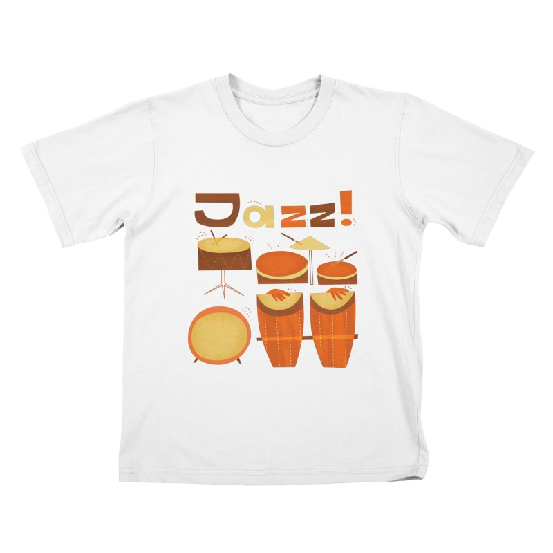 Retro Jazz Drums Percussion Brown Yellow Red Kids T-Shirt by amirabouroumie's Artist Shop