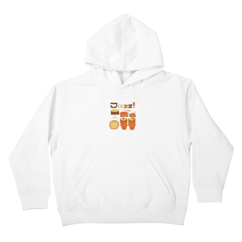 Retro Jazz Drums Percussion Brown Yellow Red Kids Pullover Hoody by amirabouroumie's Artist Shop