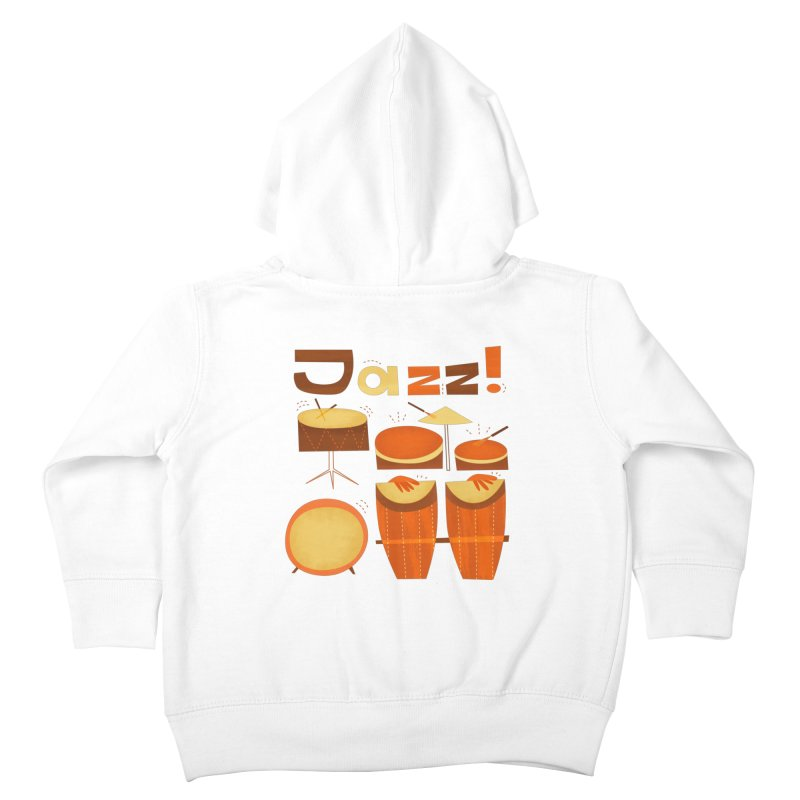 Retro Jazz Drums Percussion Brown Yellow Red Kids Toddler Zip-Up Hoody by amirabouroumie's Artist Shop