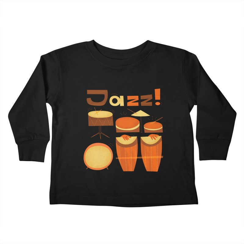 Retro Jazz Drums Percussion Brown Yellow Red Kids Toddler Longsleeve T-Shirt by amirabouroumie's Artist Shop