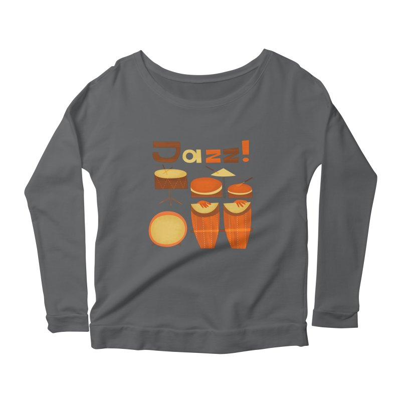 Retro Jazz Drums Percussion Brown Yellow Red Women's Longsleeve T-Shirt by amirabouroumie's Artist Shop