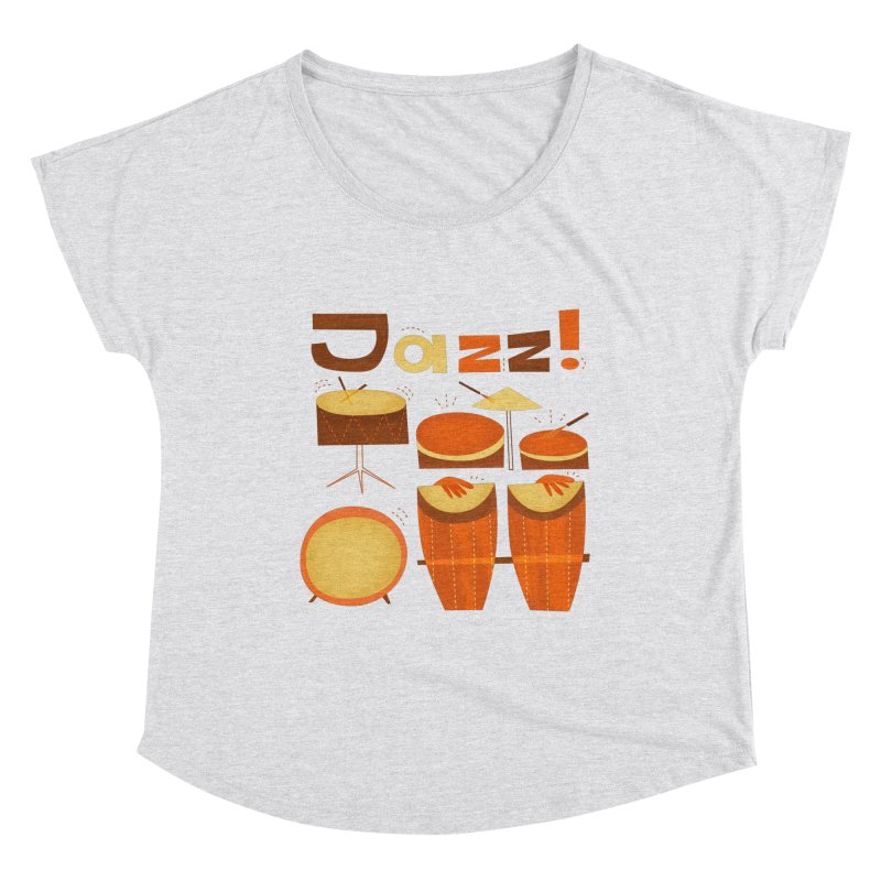 Retro Jazz Drums Percussion Brown Yellow Red Women's Dolman Scoop Neck by amirabouroumie's Artist Shop