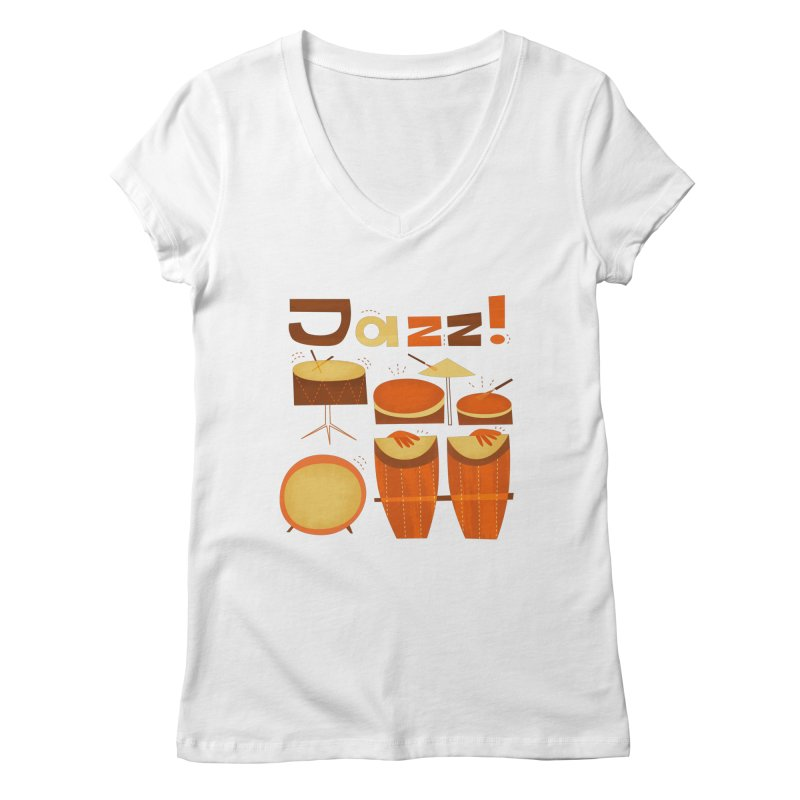 Retro Jazz Drums Percussion Brown Yellow Red Women's Regular V-Neck by amirabouroumie's Artist Shop