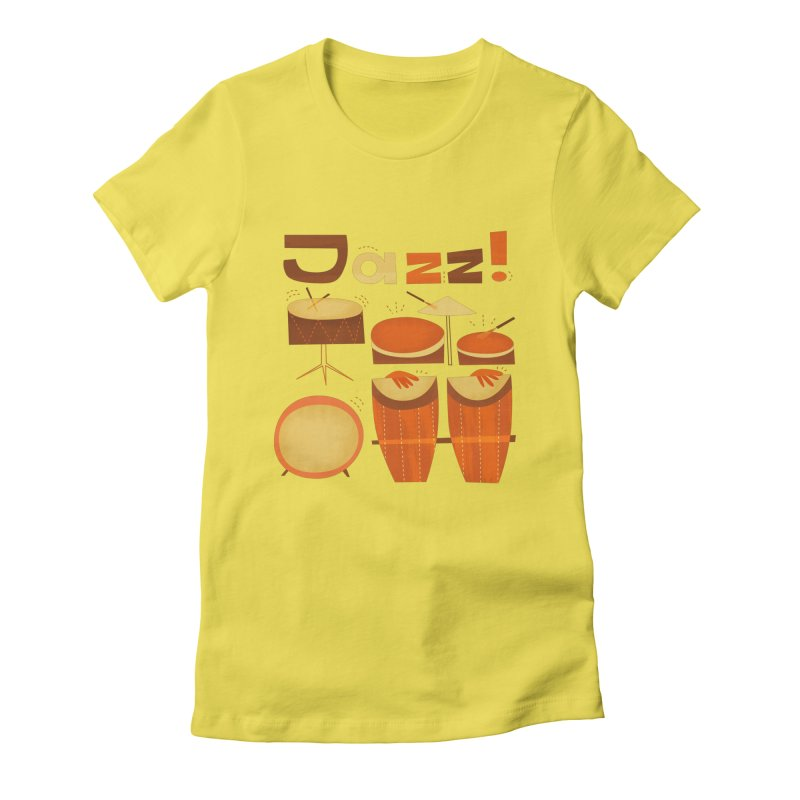 Retro Jazz Drums Percussion Brown Yellow Red Women's T-Shirt by amirabouroumie's Artist Shop