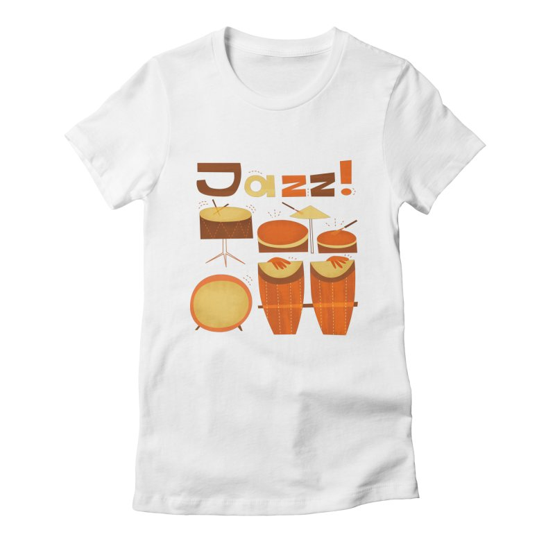 Retro Jazz Drums Percussion Brown Yellow Red Women's Fitted T-Shirt by amirabouroumie's Artist Shop