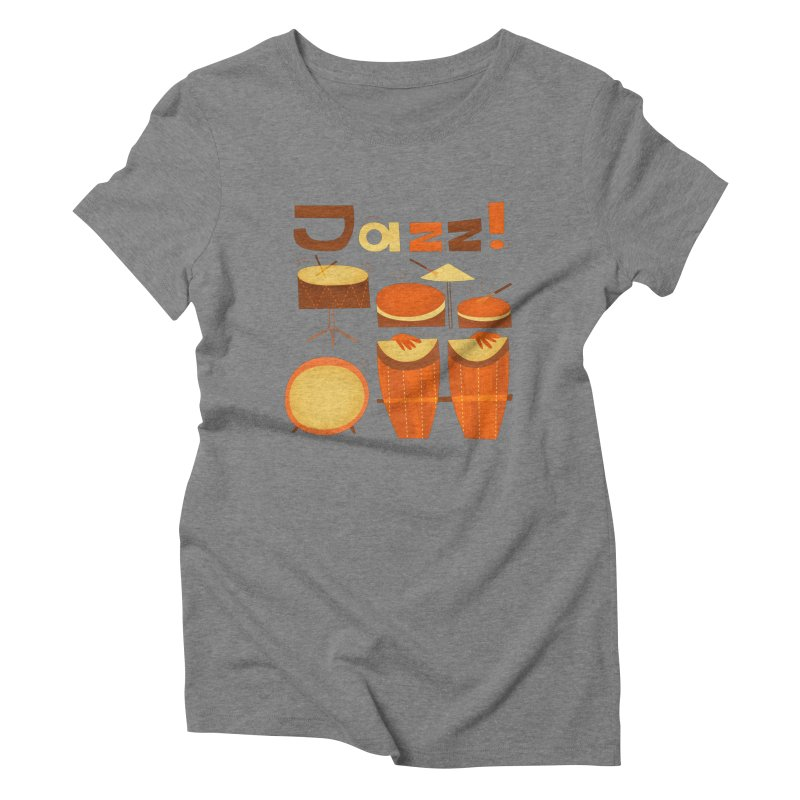 Retro Jazz Drums Percussion Brown Yellow Red Women's Triblend T-Shirt by amirabouroumie's Artist Shop