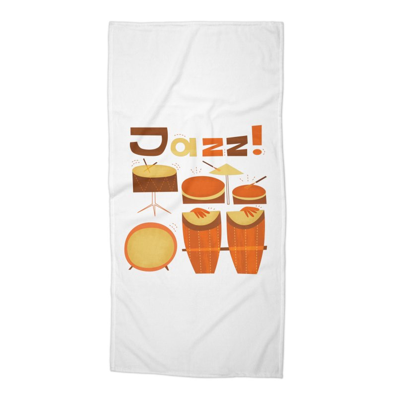 Retro Jazz Drums Percussion Brown Yellow Red Accessories Beach Towel by amirabouroumie's Artist Shop