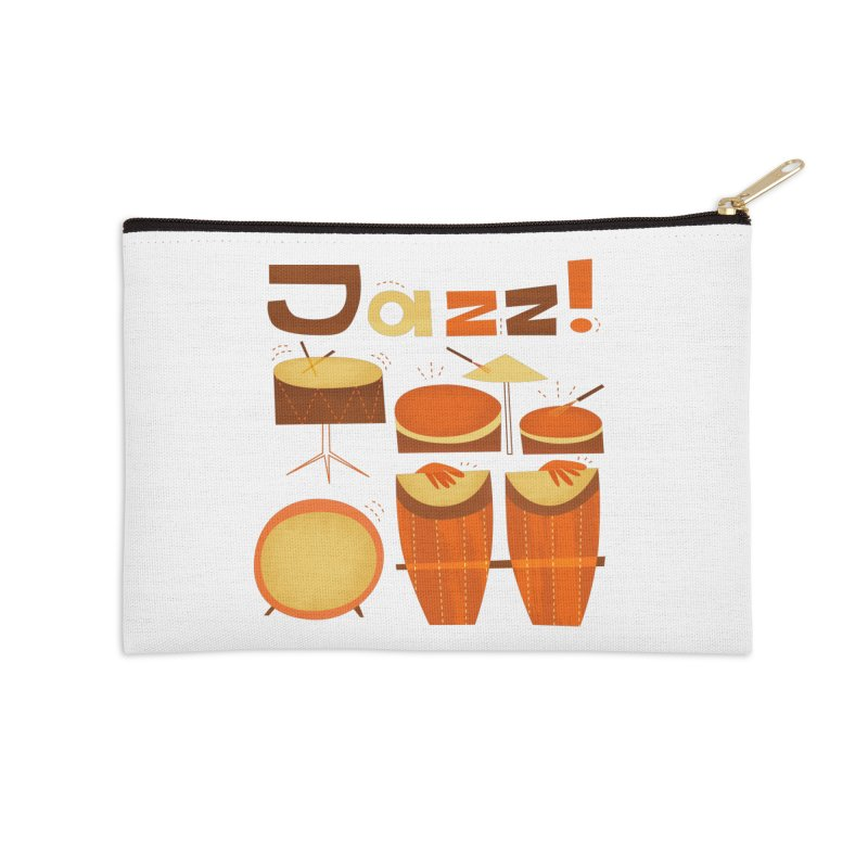 Retro Jazz Drums Percussion Brown Yellow Red Accessories Zip Pouch by amirabouroumie's Artist Shop